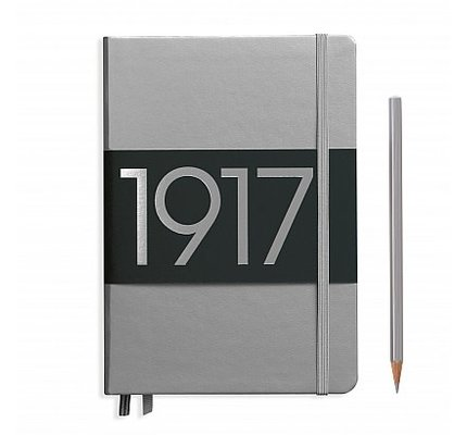 Leuchtturm1917 Leuchtturm1917 Medium Hardcover Notebook (A5) Silver Plain