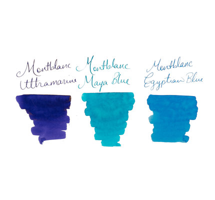 Montblanc Montblanc The Blues Palette Set Egyption Blue, Maya Blue, and Ultramarine - 30ml Bottled Ink