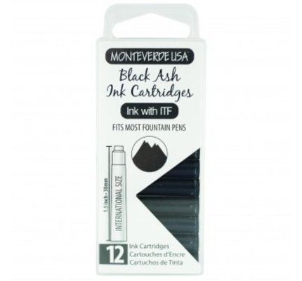 Monteverde Monteverde Ink Cartridges Black Ash - Set of 12