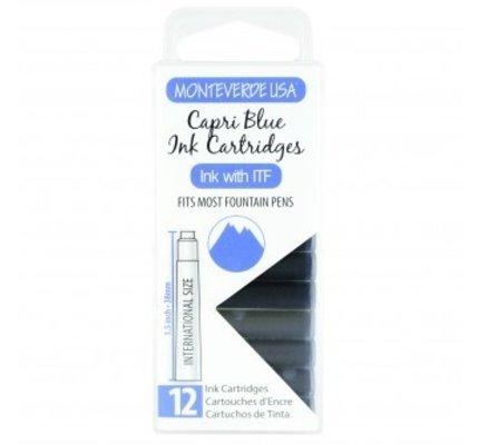 Monteverde Monteverde Ink Cartridges Capri Blue - Set of 12