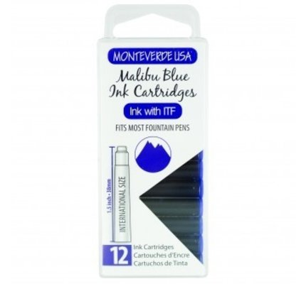 Monteverde Monteverde Ink Cartridges Malibu Blue - Set of 12