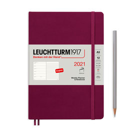 Leuchtturm1917 Leuchtturm1917 2021 Port Red Softcover A5 Medium Weekly Planner and Notebook