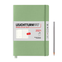 Leuchtturm1917 Leuchtturm1917 2021 Sage Softcover A5 Medium Weekly Planner and Notebook