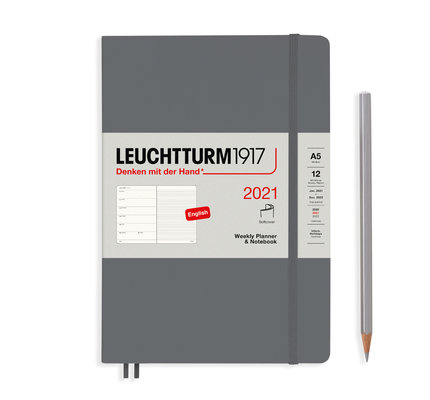 Leuchtturm1917 Leuchtturm1917 2021 Anthracite Softcover A5 Medium Weekly Planner and Notebook