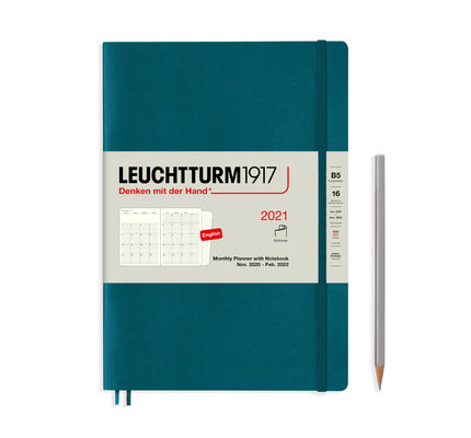 Leuchtturm1917 Leuchtturm1917 2021 Pacific Green B5 Composition Monthly Planner and Notebook Composition