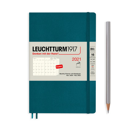 Leuchtturm1917 Leuchtturm1917 2021 Pacific Green B6+ Paperback Monthly Planner and Notebook