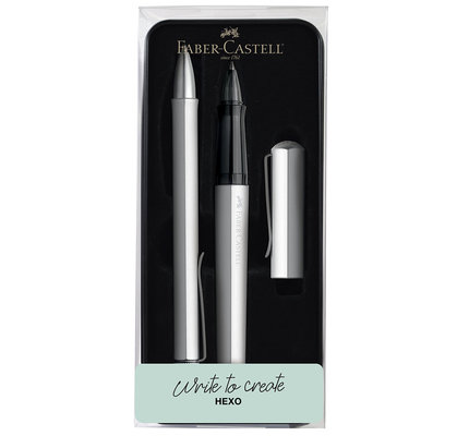 Faber-Castell Faber-Castell Hexo Gift Set Silver Ballpoint and Rollerball