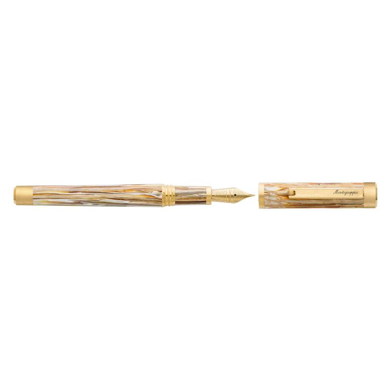 Montegrappa Montegrappa Zero North American Exclusive Caramel and Yellow Gold Plated Fountain Pen 14K Gold Nib