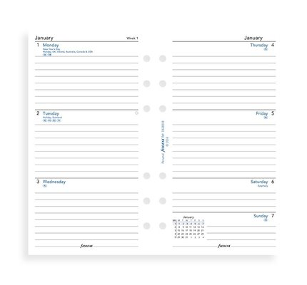 Filofax Filofax 2021 Week to View Lined Personal Planner Refill