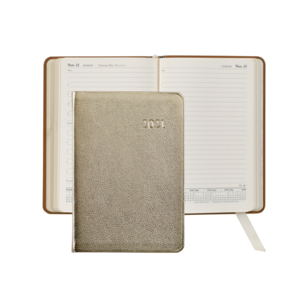 Graphic Image Graphic Image 2021 White Gold Metallic Goatskin Daily Appointment Journal