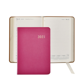 Graphic Image Graphic Image 2021 Pink Goatskin Leather Daily Appointment Journal