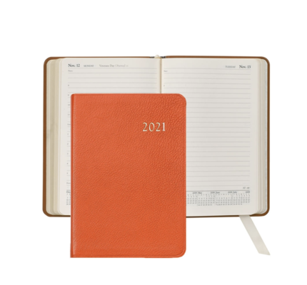 Graphic Image Graphic Image 2021 Orange Goatskin Leather Daily Appointment Journal