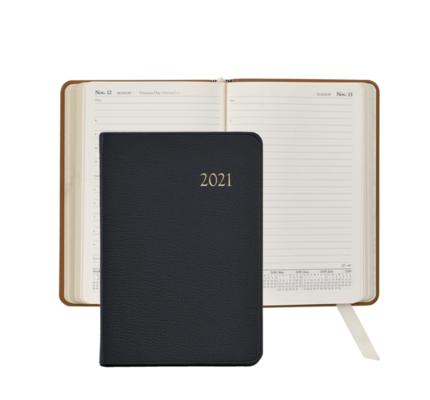 Graphic Image Graphic Image 2021 Black Goatskin Leather Daily Appointment Journal