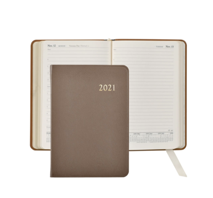 Graphic Image Graphic Image 2021 Taupe Goatskin Leather Daily Appointment Journal