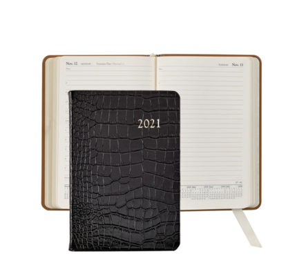 Graphic Image Graphic Image 2021 Black Crocodile Print Leather Daily Appointment Journal