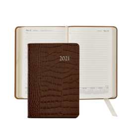 Graphic Image Graphic Image 2021 Brown Crocodile Print Leather Daily Appointment Journal