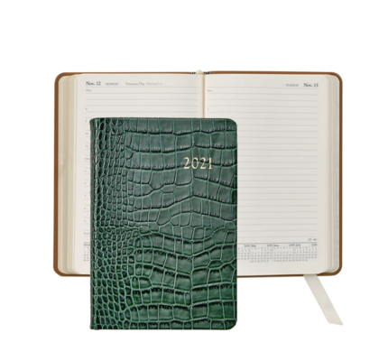 Graphic Image Graphic Image 2021 Emerald Crocodile Print Leather Daily Appointment Journal