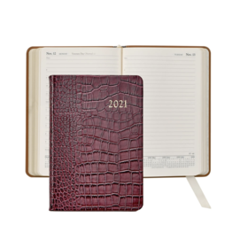 Graphic Image Graphic Image 2021 Ruby Crocodile Print Leather Daily Appointment Journal