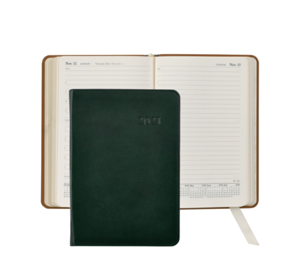Graphic Image Graphic Image 2021 Green Traditional Leather Daily Appointment Journal
