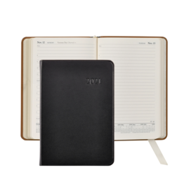Graphic Image Graphic Image 2021 Black Traditional Leather Daily Appointment Journal