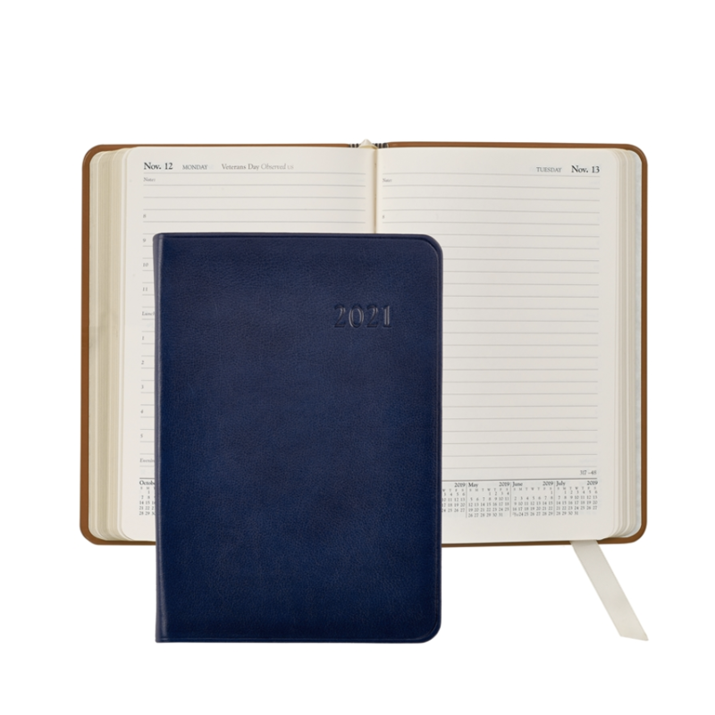 Graphic Image Graphic Image 2021 Blue Traditional Leather Daily Appointment Journal