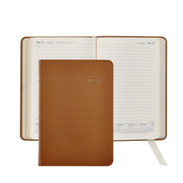 Graphic Image Graphic Image 2021 British Tan Traditional Leather Daily Appointment Journal