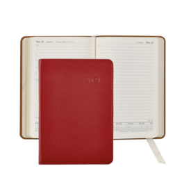 Graphic Image Graphic Image 2021 Red Traditional Leather Daily Appointment Journal