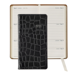 Graphic Image Graphic Image 2021 Black Crocodile Print Leather 6'' Personal Pocket Journal