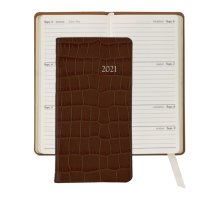 Graphic Image Graphic Image 2021 Brown Crocodile Print Leather 6'' Personal Pocket Journal