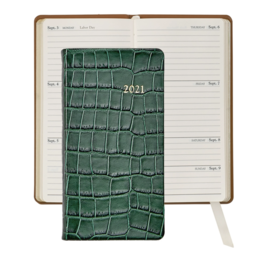 Graphic Image Graphic Image 2021 Emerald Crocodile Print Leather 6'' Personal Pocket Journal