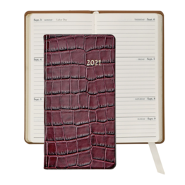 Graphic Image Graphic Image 2021 Ruby Crocodile Print Leather 6'' Personal Pocket Journal
