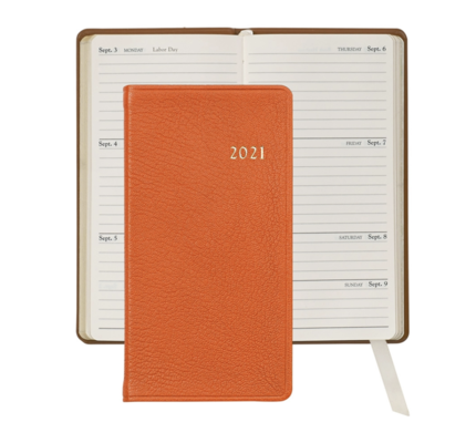 Graphic Image Graphic Image 2021 Orange Goatskin 6'' Personal Pocket Journal