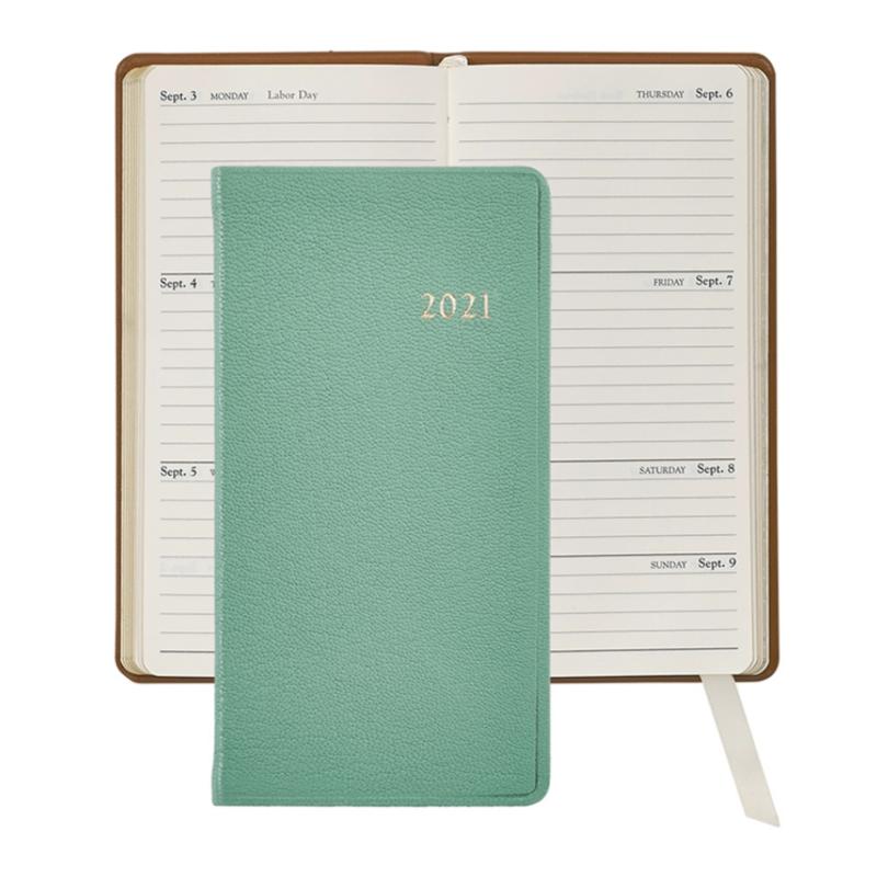 Graphic Image Graphic Image 2021 Robin's Egg Blue Goatskin 6'' Personal Pocket Journal