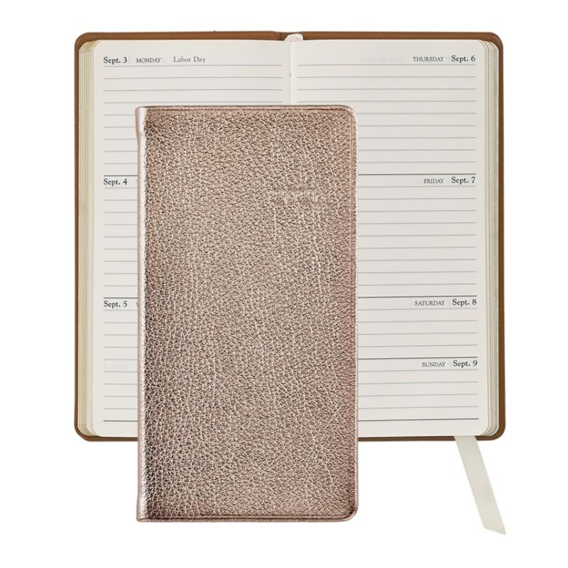 Graphic Image Graphic Image 2021 Rose Gold Metallic Goatskin 6'' Personal Pocket Journal