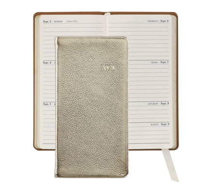 Graphic Image Graphic Image 2021 White Gold Metallic Goatskin 6'' Personal Pocket Journal