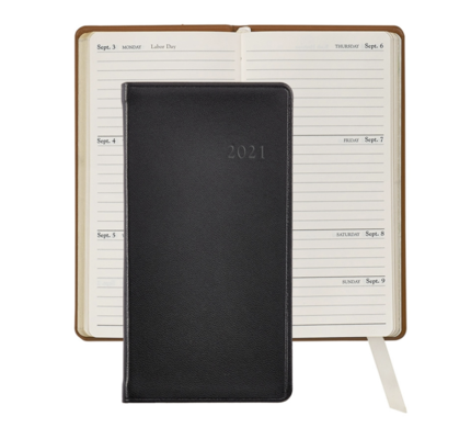 Graphic Image Graphic Image 2021 Black Traditional Leather 6'' Personal Pocket Journal
