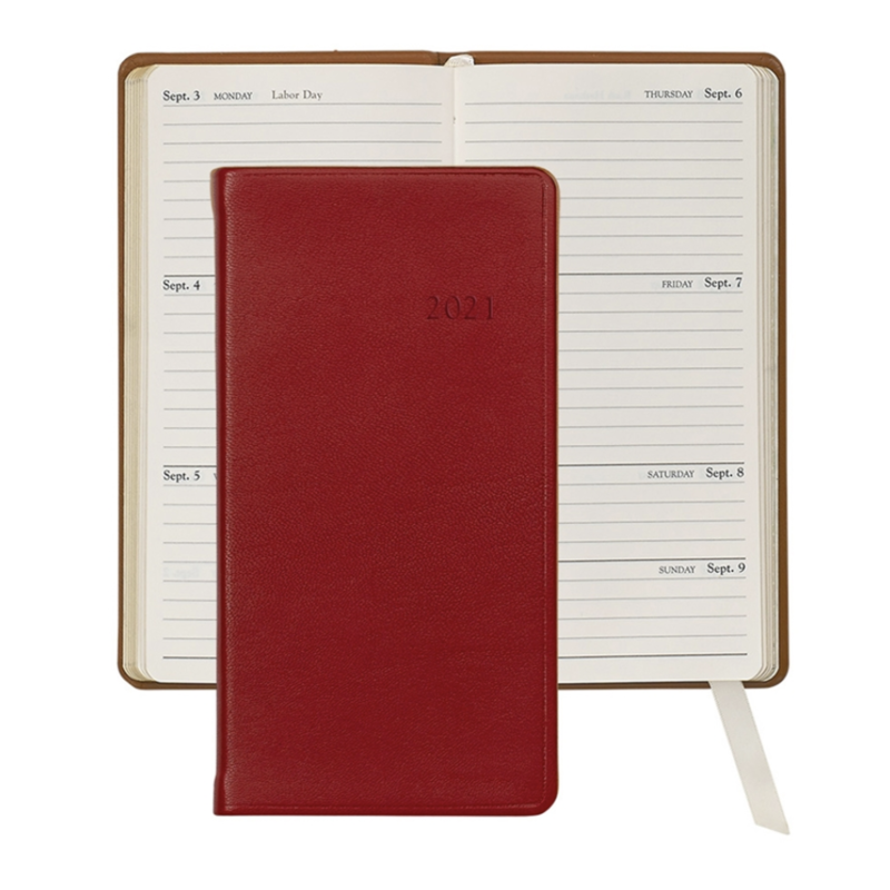 Graphic Image Graphic Image 2021 Red Traditional Leather 6'' Personal Pocket Journal