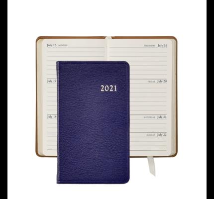 Graphic Image Graphic Image 2021 Indigo Goatskin 5'' Personal Pocket Journal