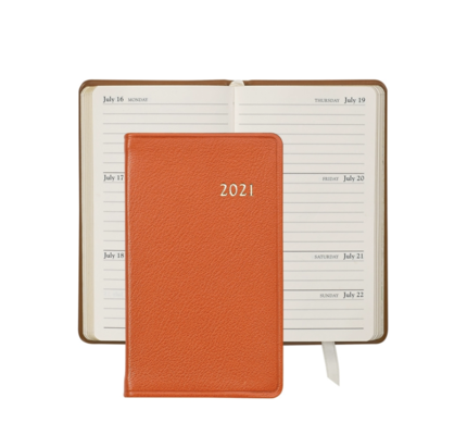 Graphic Image Graphic Image 2021 Orange Goatskin 5'' Personal Pocket Journal