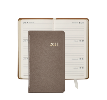 Graphic Image Graphic Image 2021 Taupe Goatskin 5'' Personal Pocket Journal