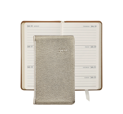 Graphic Image Graphic Image 2021 White Gold Metallic Goatskin 5'' Personal Pocket Journal