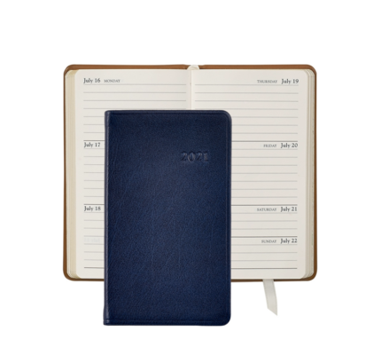 Graphic Image Graphic Image 2021 Blue Traditional Leather 5'' Personal Pocket Journal