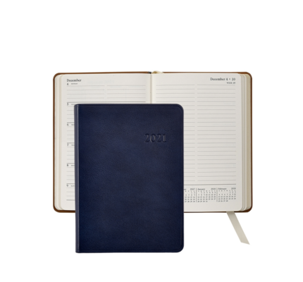 Graphic Image Graphic Image 2021 Blue Traditional Leather 5X7 Weekly Journal