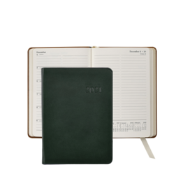 Graphic Image Graphic Image 2021 Green Traditional Leather 5X7 Weekly Journal