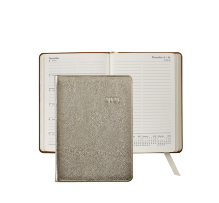 Graphic Image Graphic Image 2021 White Gold Metallic Goatskin 5X7 Weekly Journal