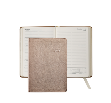 Graphic Image Graphic Image 2021 Rose Gold Metallic Goatskin 5X7 Weekly Journal