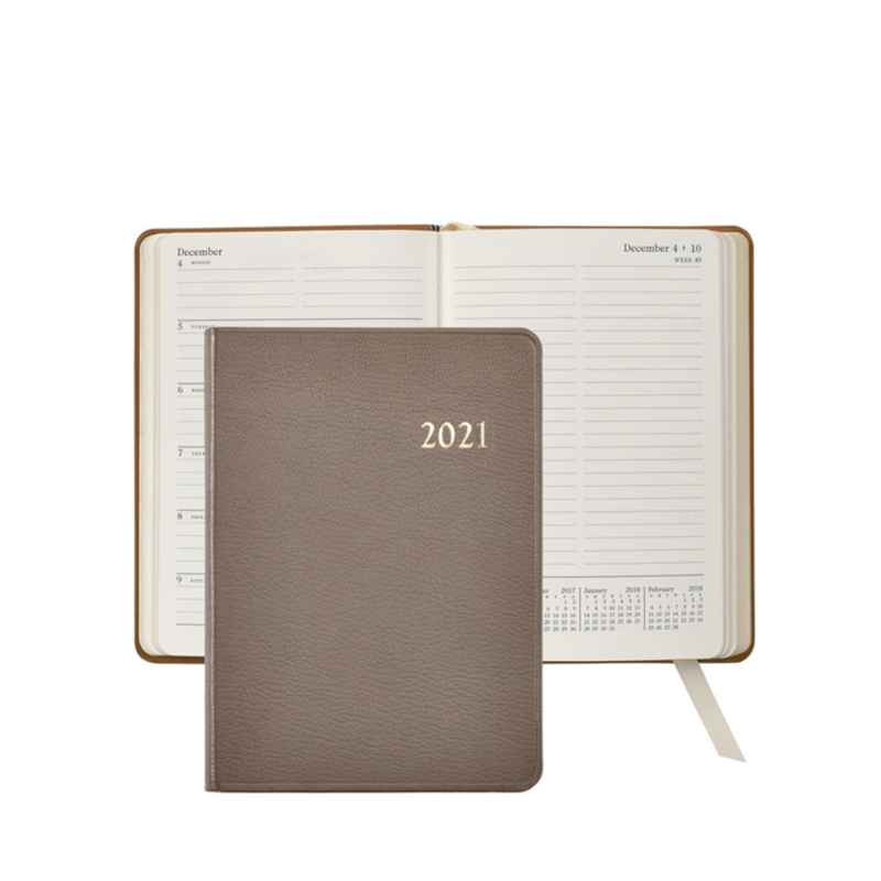 Graphic Image Graphic Image 2021 Taupe Goatskin 5X7 Weekly Journal