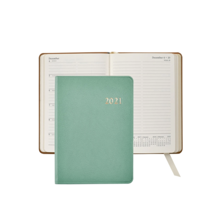 Graphic Image Graphic Image 2021 Robin's Egg Blue Goatskin 5X7 Weekly Journal