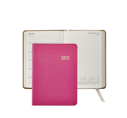 Graphic Image Graphic Image 2021 Pink Goatskin 5X7 Weekly Journal