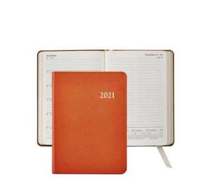 Graphic Image Graphic Image 2021 Orange Goatskin 5X7 Weekly Journal